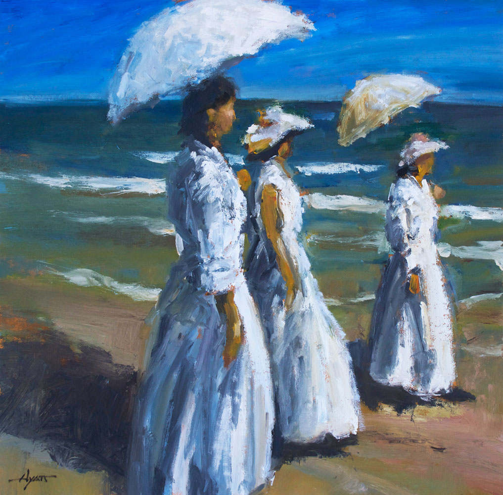 Edwardian Beach Looking Right By Hyatt Moore Painter