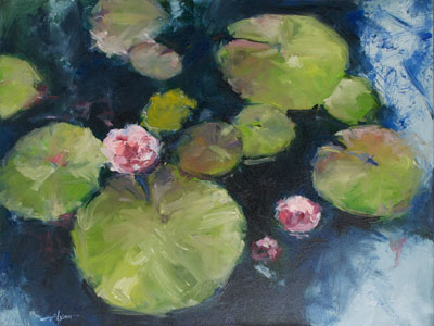 Lily Pads, Three Blooms