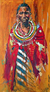 Masai Woman on Wood