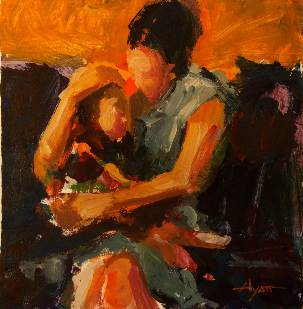Print: Mother Son by Hyatt Moore - Painter